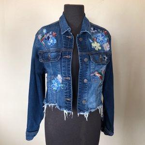 Anthropologie Hidden Embroidered Jean Jacket